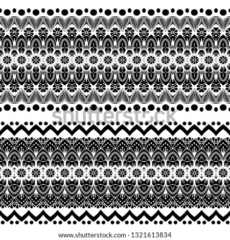 Women's lace seamless brush tape. Floral exquisite vintage pattern, wide handmade ornament. Ethnic fabrics, motifs for clothing, clothing, packaging, signage and website. black-white. Vector EPS 10 #1321613834