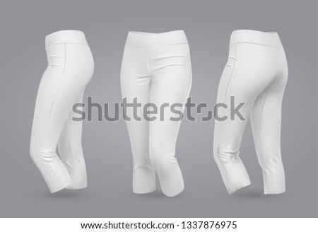 Women's leggings mockup in front and back view, isolated on a gray background. 3D realistic vector illustration