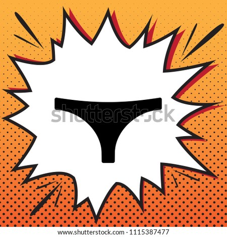 Women's panties sign. Vector. Comics style icon on pop-art background.