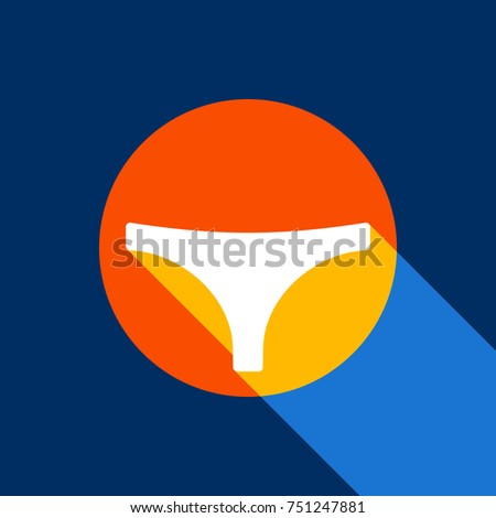 Women's panties sign. Vector. White icon on tangelo circle with infinite shadow of light at cool black background. Selective yellow and bright navy blue are produced.