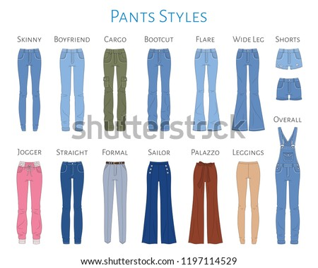 Women's pants collection, vector sketch illustration. Different styles of blue jeans, shorts, overalls, sweat pants, business formal pants, loose pants and leggings, isolated on white background.