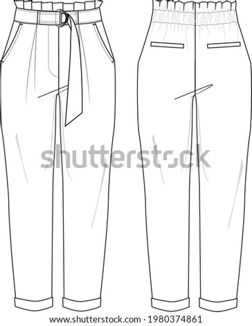 Women's Paperbag Waistband, Belted, Tapered Pants. Trousers technical fashion illustration with pockets. Flat apparel pants template front and back, white color. Women's CAD mock-up. Сток-фото ©