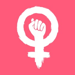 Women's Power. Women's Rights. Iconic woman's fist/symbol of female power and industry.  Vector EPS
