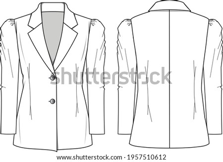 Women's Puff Sleeve Blazer Jacket- Jacket technical fashion illustration. Flat apparel jacket template front and back, white colour. Women's CAD mock-up. ストックフォト ©