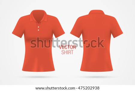 women's red vector polo shirt