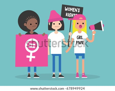 Women's right. Conceptual illustration. Feminist demonstration. A group of young women fighting for their rights / flat editable vector illustration, clip art