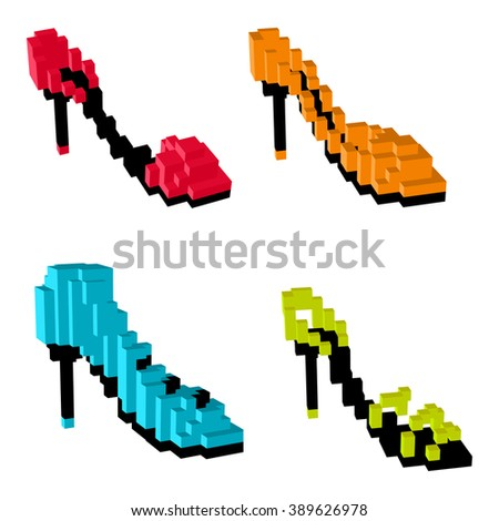 women's shoes icons  3d pixel