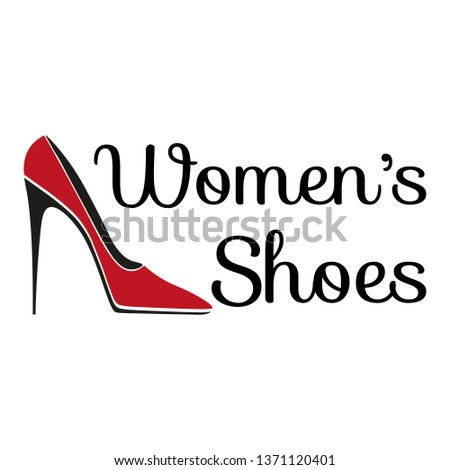 Women's shoes store logo. Pattern of female glamours fashion slipper and inscriptions for the shop.
