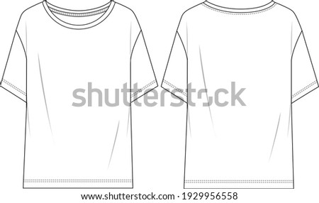 Women's Short Sleeve, Basic T-shirt. Jersey top technical fashion illustration with short sleeves. Flat apparel t-shirt template front and back, white color. Unisex CAD mock-up. Stok fotoğraf ©
