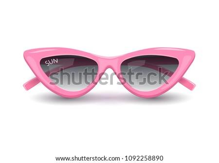 Women's sunglasses, pink glasses, women's accessory. Summer season, the sea, the beach. Vector illustration.