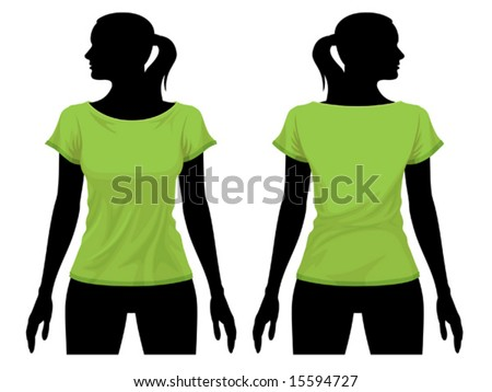 Women's t-shirt template with human body silhouette