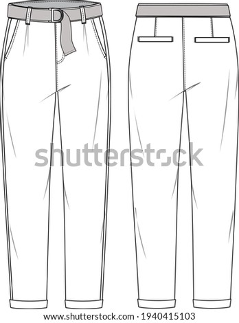 Women's Tapered, Belted, Roll Hem Chino Pants. Trousers technical fashion illustration with pockets. Flat apparel chino template front and back, white color. Unisex CAD mock-up. Foto stock ©