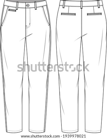 Women's Tapered Chino Pants. Trousers technical fashion illustration with 5 pockets. Flat apparel chino template front and back, white colour. Unisex CAD mockup. Foto stock ©
