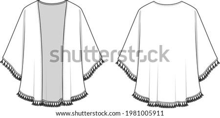 Women's Tassel Edge Kimono. Kimono technical fashion illustration. Flat apparel kimono template front and back, white color. Women's CAD mock-up. Stock fotó ©