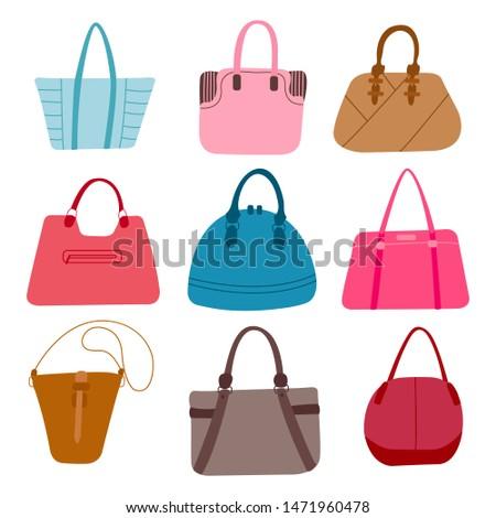 Women's trendy handbags vector illustration