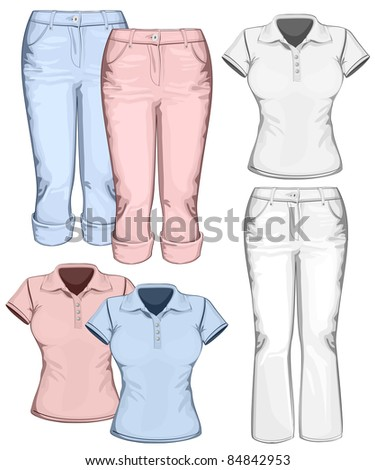 Women's trouser jeans and polo-shirt design templates. vector illustration