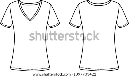 Womens V Neck T Shirt Design Template Front And Back View