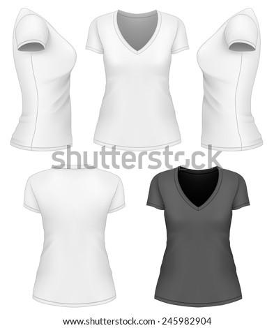 women 39 s v neck t shirt design template vector illustration 245982904 shutterstock. Black Bedroom Furniture Sets. Home Design Ideas
