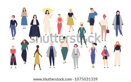 Women's world. Crowd of girls dressed in trendy casual and formal clothes. Collection of female cartoon characters isolated on white background. Colorful vector illustration in modern flat style