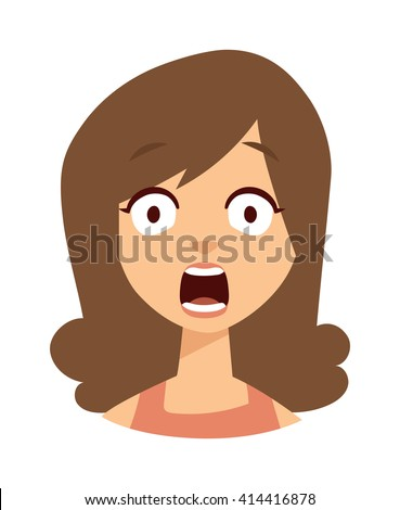 women scary face open mouth