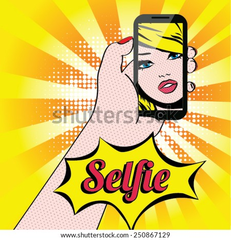 women selfie pop art vector