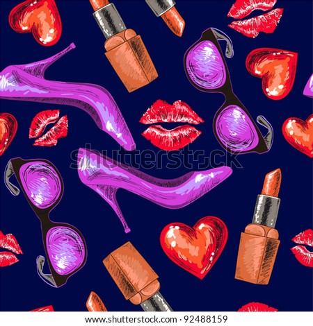 Women shoe, lipstick, kiss,heart and sunglasses on dark background (continuous,)