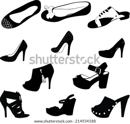 women shoes silhouettes - vector #214934188