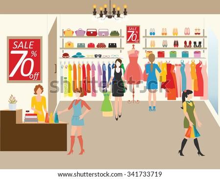 women shopping in a clothing