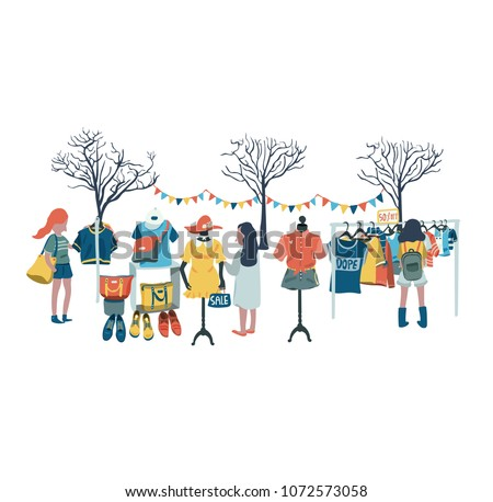 Women shopping in the clothes shop at flea market or market fair, all in colorful doodle cartoon flat design, illustration, vector, on white background