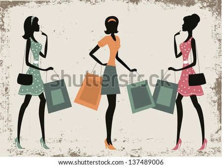 Women shopping on a retro grunge background