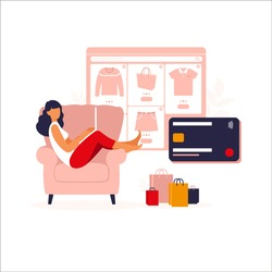 Women shopping online on laptop. Vector illustration. Online store payment. Bank credit cards. Digital pay technology. E-paying. Flat style modern vector illustration isolated on white.
