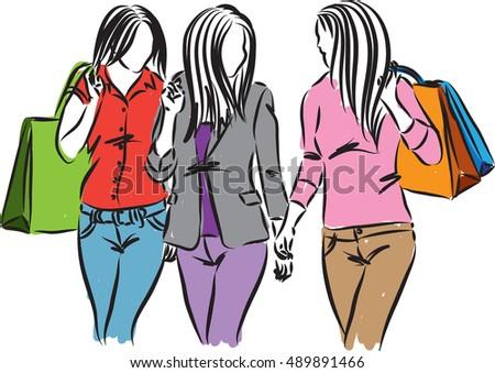 women shopping time illustration