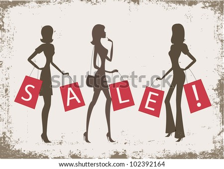 "women shopping with word ""SALE"" on their bags on grunge background"