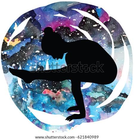 women silhouette on galaxy
