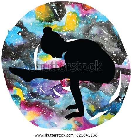 women silhouette on galaxy