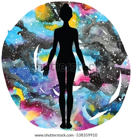 women silhouette on galaxy astral background yoga