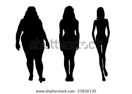 women silhouettes isolated on white