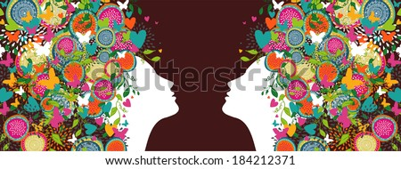 Women silhouettes profiles with abstract summer flowers design composition banner. Vector illustration layered for easy manipulation and custom coloring.