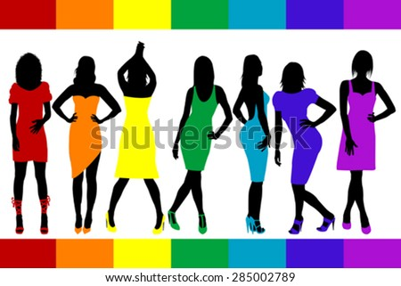 women silhouettes set with