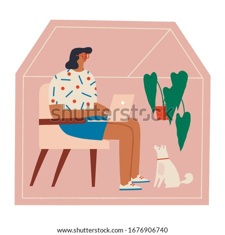 Women siting in a chair with dog and working online at home illustration. Social distancing and self-isolation during corona virus quarantine.