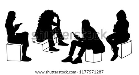 women sitting in different