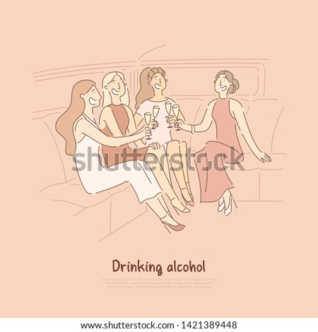 Women sitting in elite car with glasses, celebrating bachelorette party with girlfriends, having toast in seat of limo banner