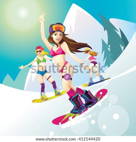 women snowboarders
