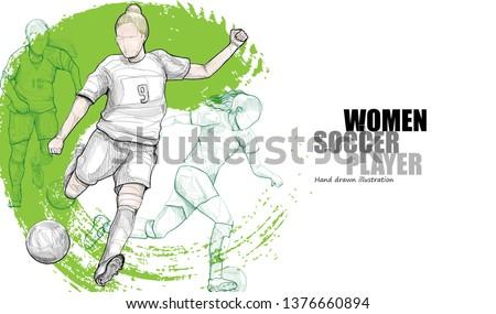 Women Soccer player vector illustration. sport background design. soccer wallpaper