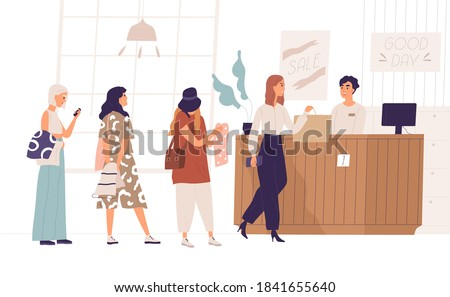 Women standing in queue at boutique. Female character shopping in clothing store. Cashier at checkout counter selling clothes. Sale and discount in fashion outlet. Vector illustration in flat style
