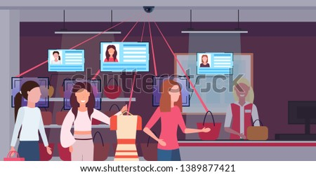 women standing line queue at checkout counter customers identification facial recognition concept security camera surveillance cctv system shopping boutique interior horizontal potrait