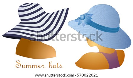 women summer beach hat isolated