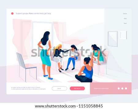 Women talk and share their experience during group therapy. Life situations and   solving problems. Creative web page design template. 3d vector isometric illustration.