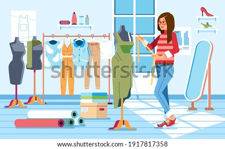 women taylor measuring a dress