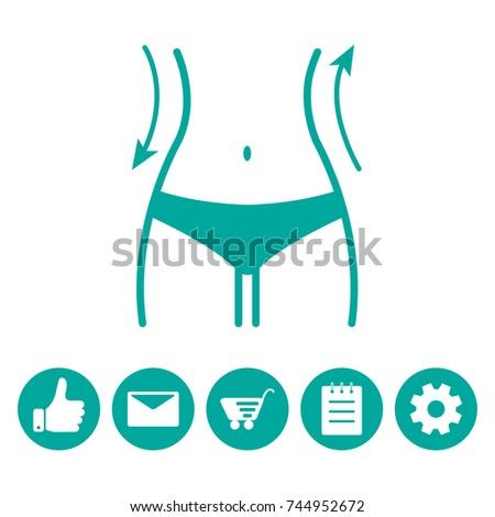 Women waist and icons menu. Silhouette of female figure. Vector illustration
